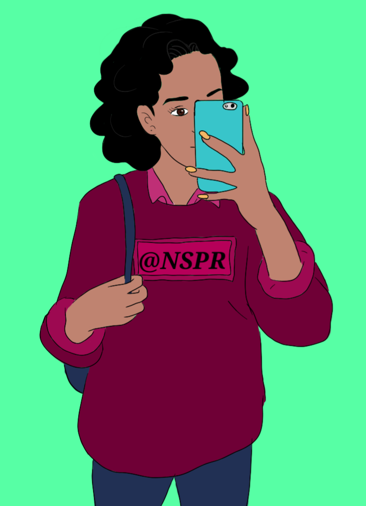 Black girl taking a picture - drawing
